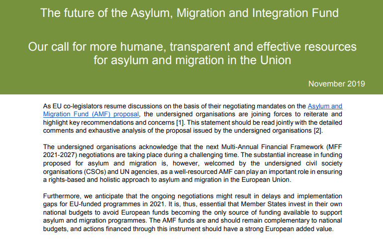 The Future of the Asylum, Migration and Integration Fund: Our Call for More Humane, Transparent and Effective Resources for Asylum and Migration in the Union