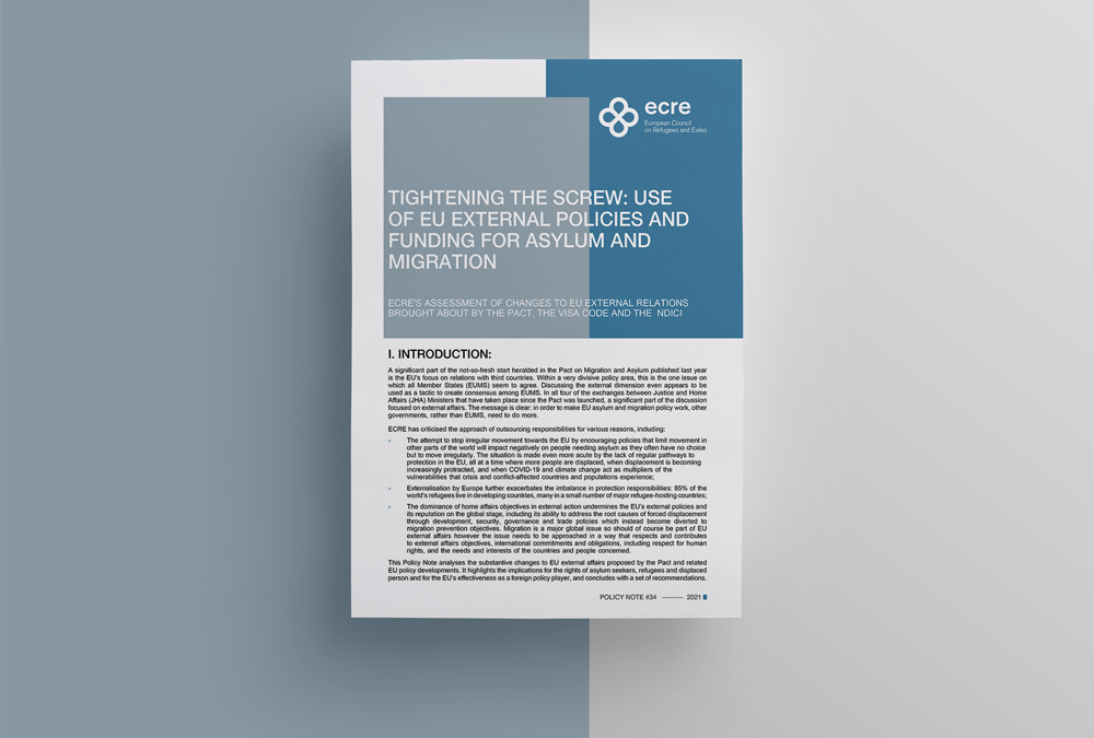 ECRE Policy Note: Tightening the Screw: Use of EU External Policies and Funding for Asylum and Migration